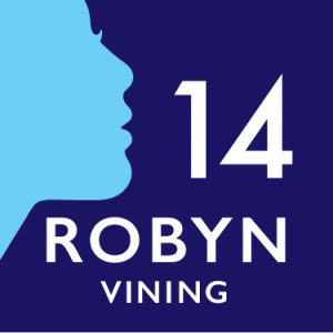 Turquoise silhouette of face on dark blue background with white text stating '14 Robyn Vining'