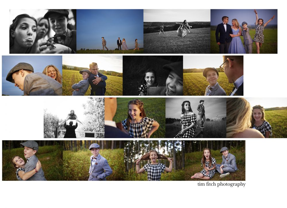 Mosaic of Vining Family photographs taken in an idyllic setting