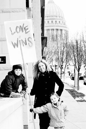 Robyn & her kids March on Madison, 2011