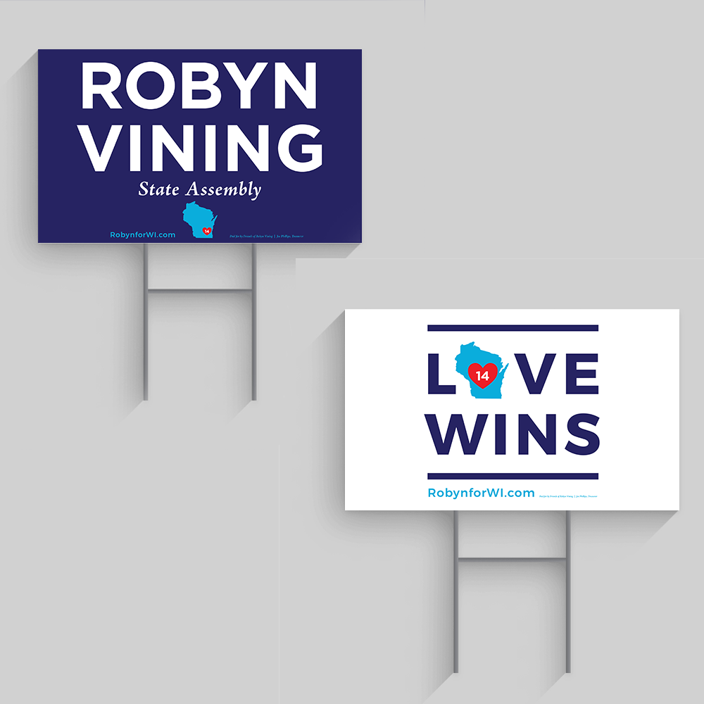 robyn vining and love wins yard signs