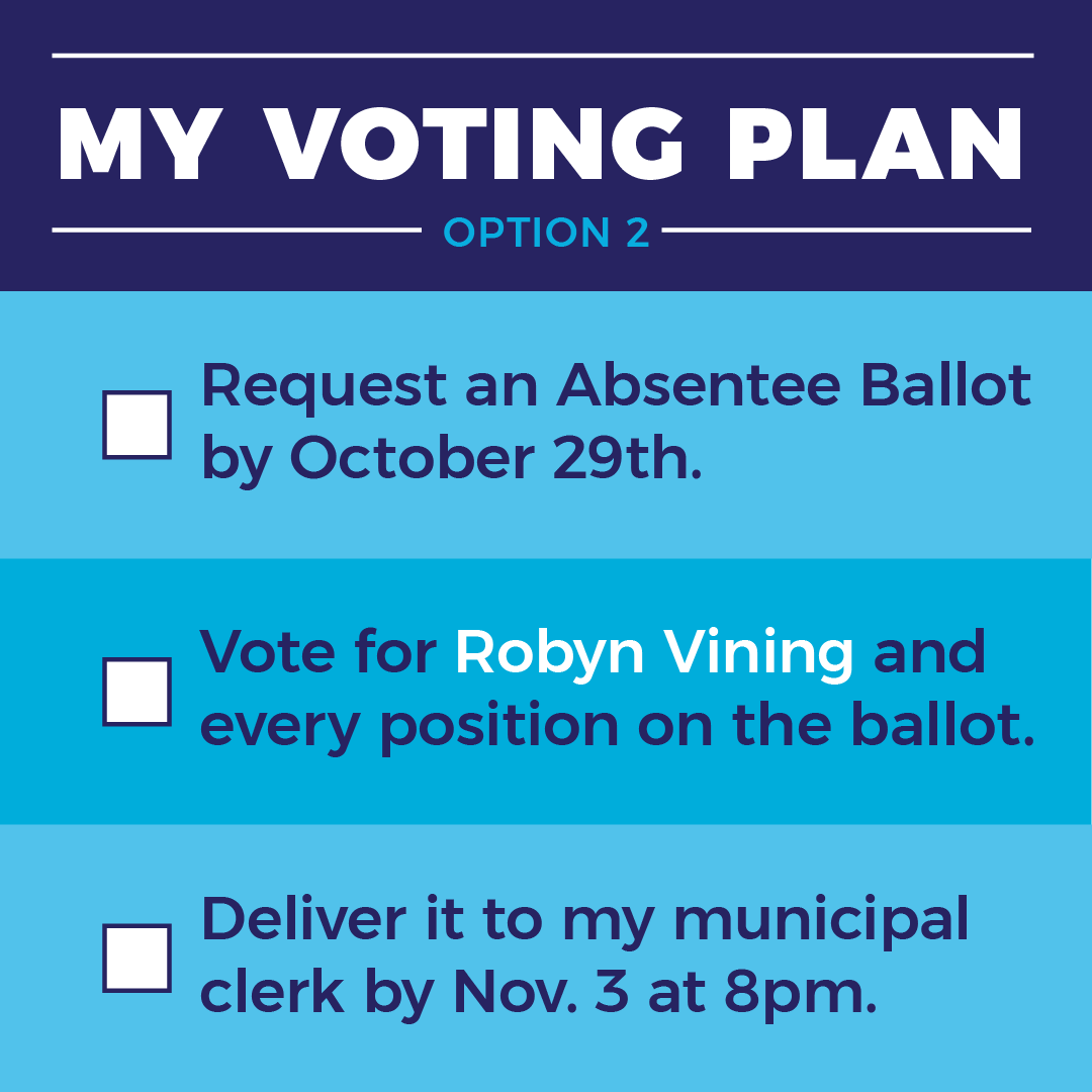drop off your absentee ballot at you municipal clerk by Nov. 3